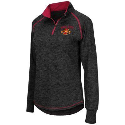 Women's Colosseum Black Iowa State Cyclones Bikram 1/4 Zip Long Sleeve Jacket