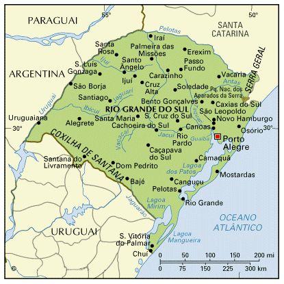 Map of Rio Grande do Sul State - Brazil