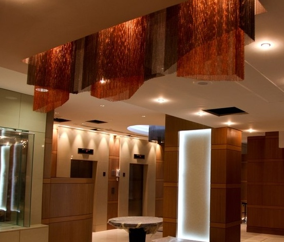 Custom Geometric Chain Curtain lighting