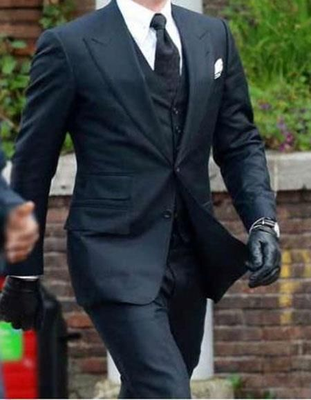 Feel like a celebrity with men's peak lapel wool blend two button James bond specter 3 piece suit available in navy color. #menssuitsvintage