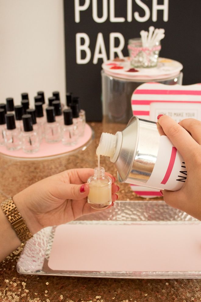 Learn how to make your own nail polish and set up a DIY nail polish bar for a party! So cute!!
