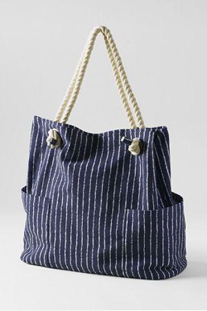 Gemusterte Canvas-Tasche im Marine-Stil - schöner Stoff, Marine-Thema allgemein gut, Tau-Henkel auch cool