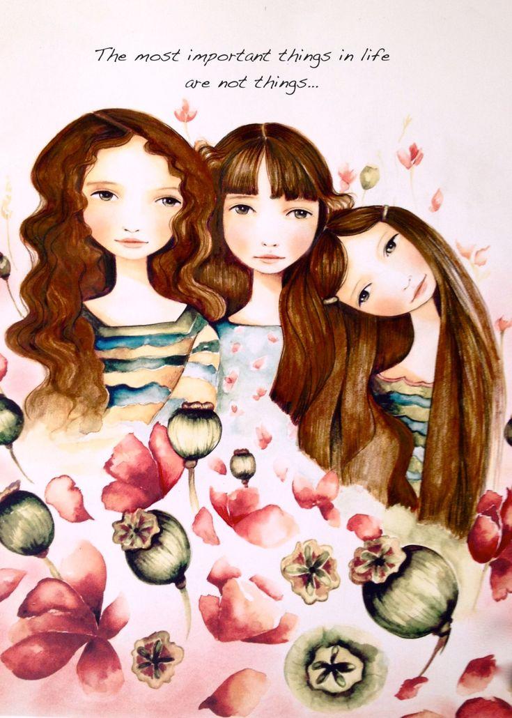 Картинки три сестры нарисованные, картинки