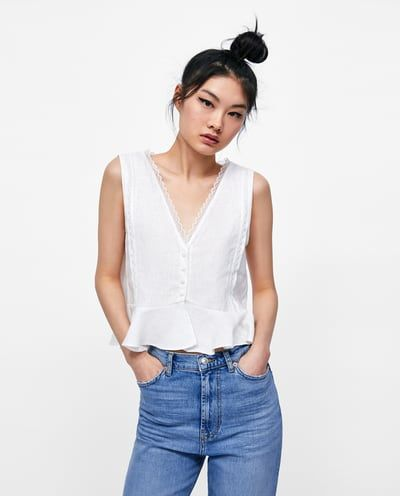 e6b465d0 Image 2 of LINEN TOP WITH CONTRASTING LACE from Zara | Covet File ...