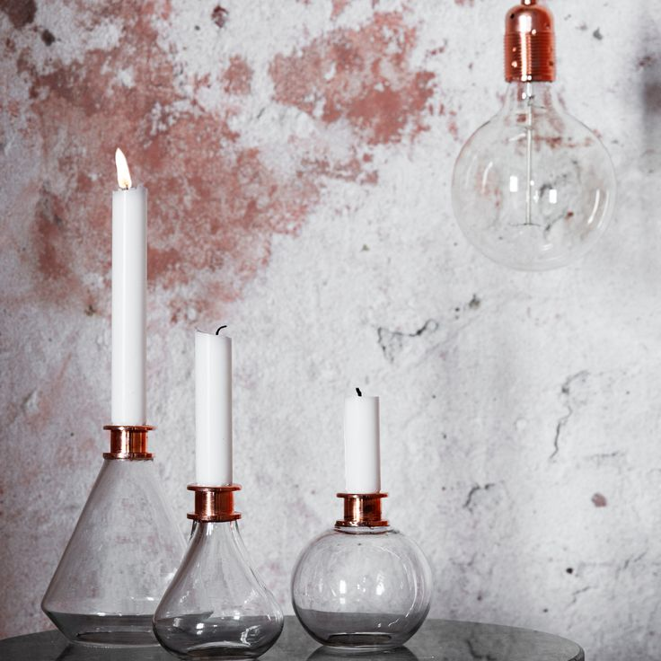 Beautiful glass and copper Edison candleholders from Excel. The Edison candleholders are perfect for the stylish scientist in your life - or the scientist who needs some style in their life.