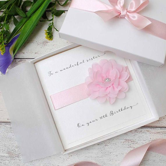 A Gorgeous Bespoke Birthday Card Featuring A Pale Pink Flower With A Dazzling Crystal Embellishment 18th Birthday Cards Wedding Day Cards Sister Birthday Card