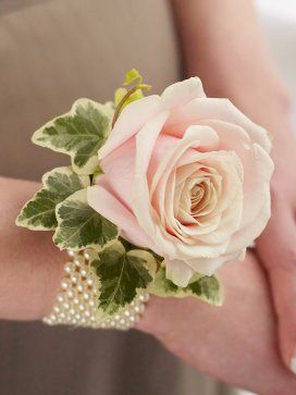 Soft Pink Rose Wrist Corsage - Interflora - this could look cute with a 50s style bridesmaid dress