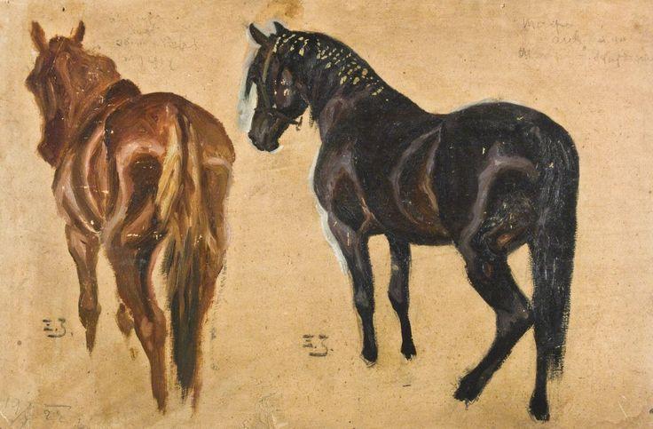 Zygmunt Józefczyk - PORTRET DWÓCH ARABÓW: KASZTANKA I KAREGO MAZEPY, 1928 Olej, tektura; 33 x 48 cm