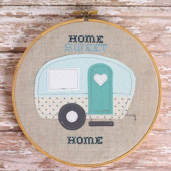 "Make this adorable ""Home Sweet Home"" trailer embroidery hoop for someone who loves to travel."
