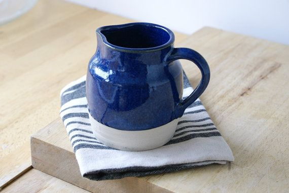 Midnight blue pottery pouring jug  hand by LittleWrenPottery, £9.00