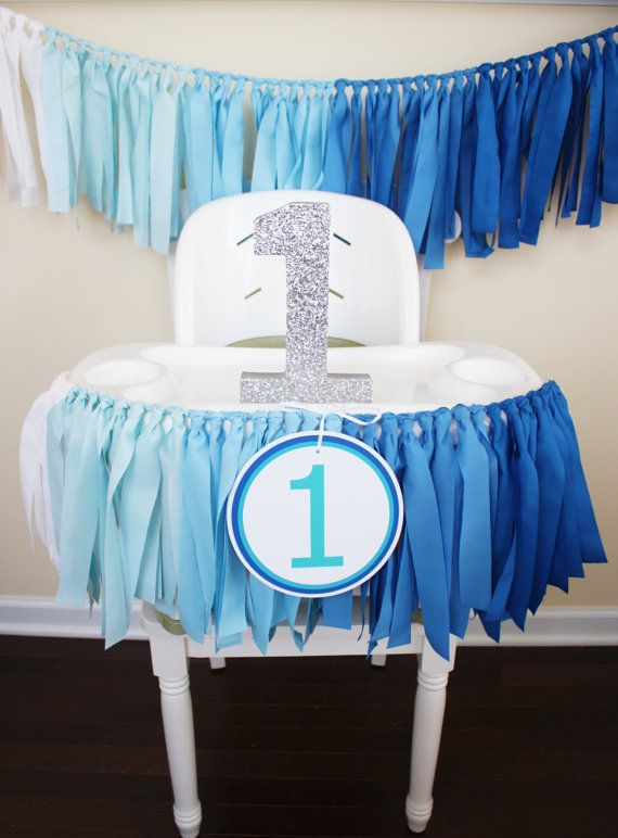 Blue Ombre Garland 1st Birthday Boy Highchair by MyLittleBoobug
