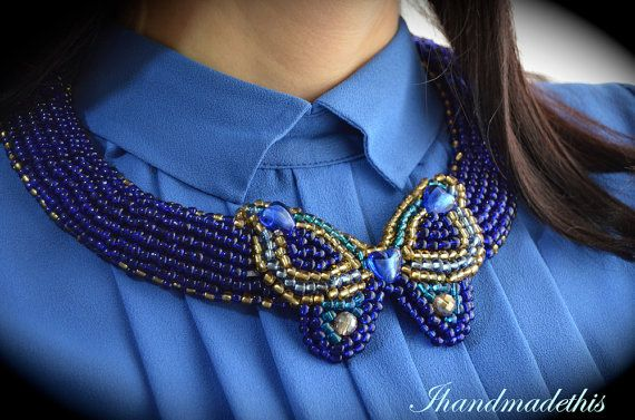 Dark blue butterfly beads embroidery necklace by Ihandmadethis