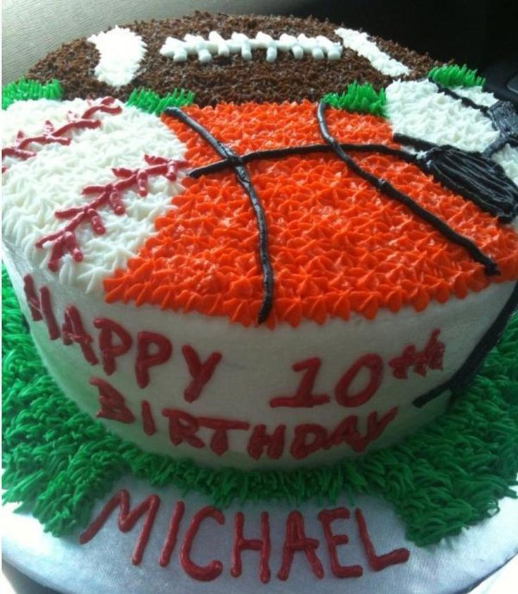 Sports Birthday Cake - could modify to make it a one sport cake with your favorite teams colors. Description from pinterest.com. I searched for this on bing.com/images