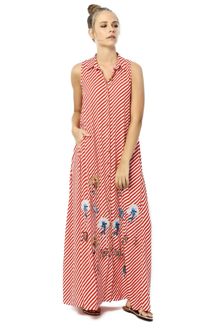 LONG DRESS WITH LİNE DETAILS %100RAYON