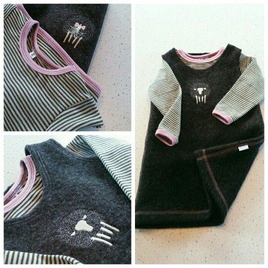 Girls dress made in wool  Hjemmesydd jentekjole og genser i ull