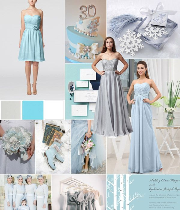 Ice blue and white flowing dresses