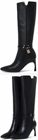 Black Mid-Calf Leather Boots with Locket