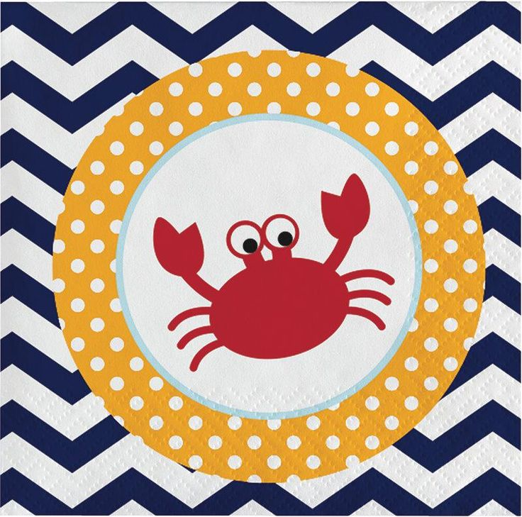 Ahoy Matey Beverage Napkins, Nautical Dessert Napkins, Crab Napkin, Sailing Party, Nautical Party (set of 16)