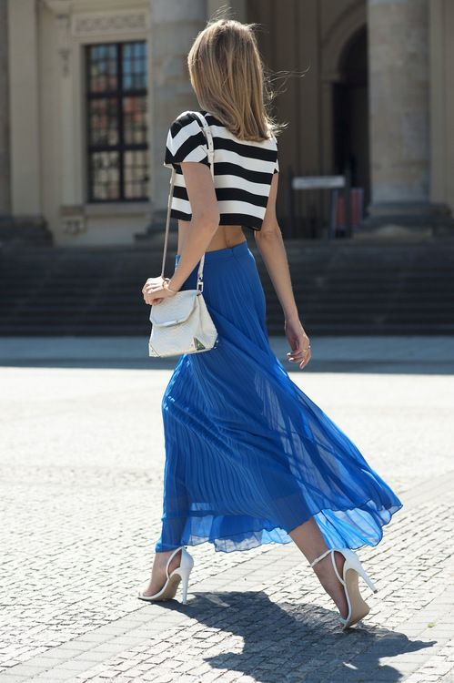 style black white stripped crop top blue maxi