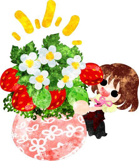 フリーのイラスト素材巨大な苺の植木鉢と笑顔の少女  Free Illustration Big strawberry flower pot and a smiling girl  http://ift.tt/1paKzFm