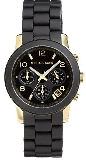 $275, Black and Gold Watch: MICHAEL Michael Kors Michl Michl Kors Michl Kors Runway Chronograph Watch 39mm. Sold by Nordstrom.