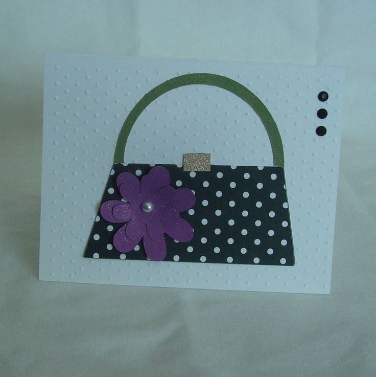 wedding thank you cards time limit%0A Handmade Card Cute Purse Image Handmade Card Mother u    s Day Thank You  Thinking of You All Occasion