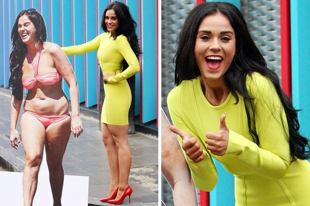 Geordie Shore's Vicky Pattison flaunts her weight loss by posing with cardboard cut-out of her former self - 3am & Mirror Online