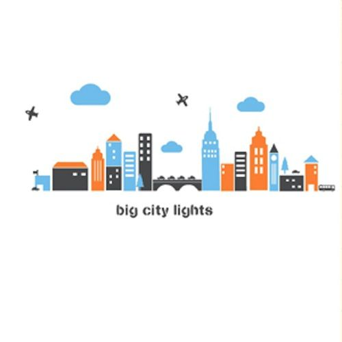 This big city lights vinyl wall decal is a perfect background for any room.