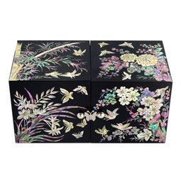 Mother of Pearl Twin Cubic Jewelry Box with Four Noble Plants