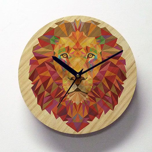 Indian handicrafts - Wall Clock - Lion - Geometric - Wooden Wall Clock - Poly Lion  checkout @ http://engrave.in/products/poly-lion-wall-clock