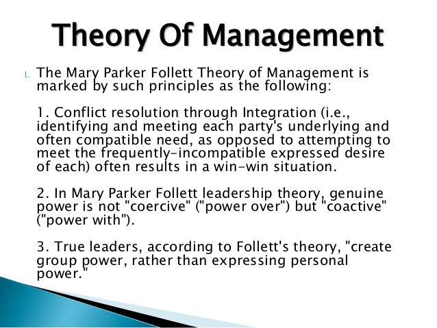 Mary Parker Follett Conflict Resolution Management Principles