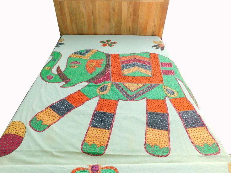 Kantha Patchwork Bedding Bedspread Appliqué Elephant Art Gudri Bed Sheet DS7 #Handmade #Traditional