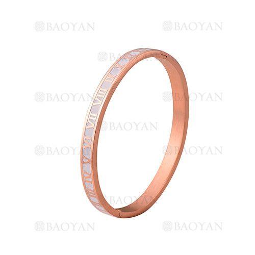 pulsera de moda con numero romano de oro rosado en acero inoxidable-SSBTG1224994