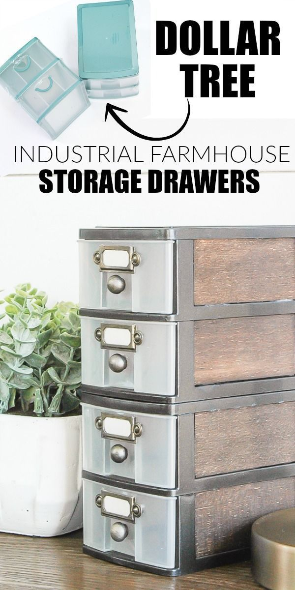 WOW, this transformation is unbelievable!  Inexpensive Dollar Tree storage drawers get an impressive industrial farmhouse makeover! http://www.littlehouseoffour.com