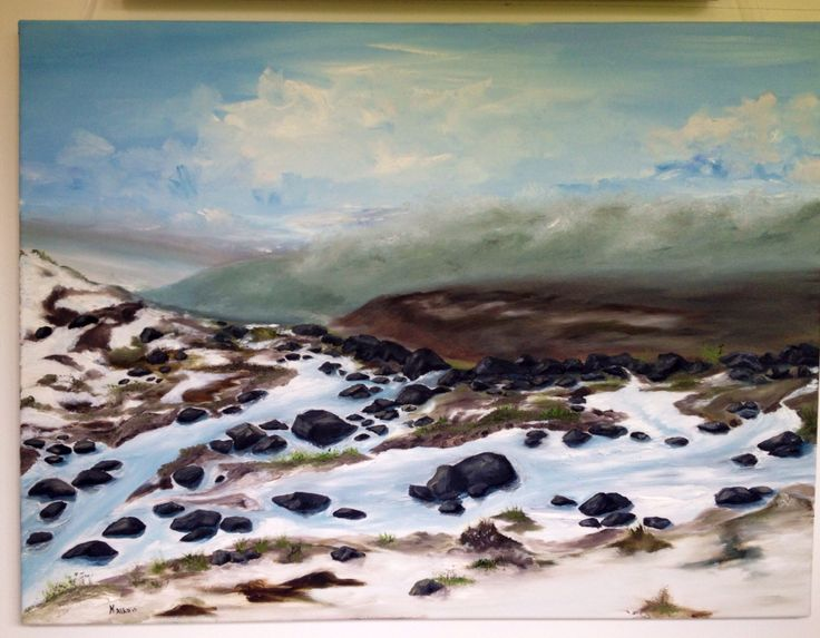 The thawing in the moors, inspiration from the moors in Yorkshire moors , An Original Contemporary painting oil on canvas