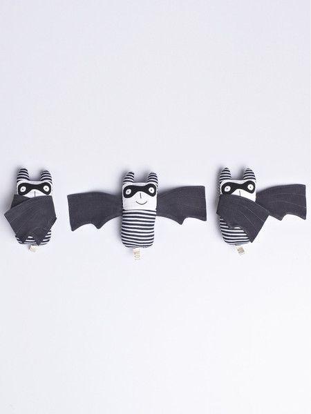 Bandit Bats, cute characters, kids design, soft toy, illustration, monochrome, halloween