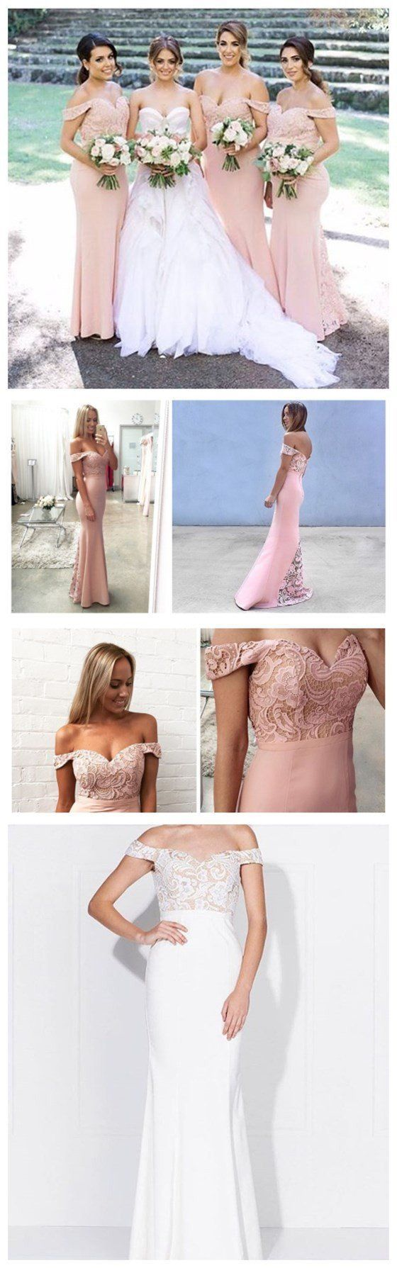 Junior Pretty Blush Pink Lace Off Shoulder Sweet Heart Mermaid Floor-Length Bridesmaid Dresses, WG55 Junior Pretty Blush Pink Lace Off Shoulder Sweet Heart Mermaid Floor-Length Bridesmaid Dresses, WG55