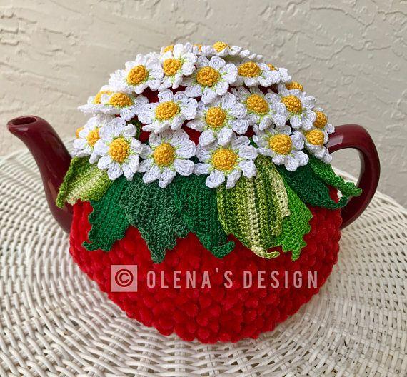 NEW  Handmade Tea Cozy Daisies //white base from Ukrainian Designer Unique!