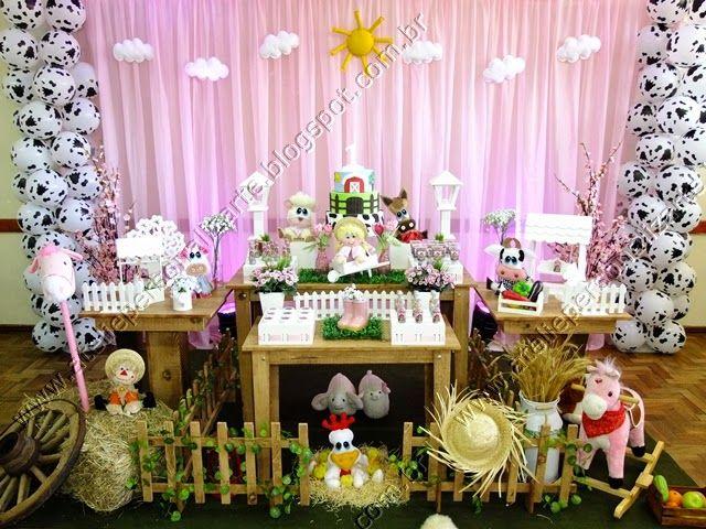 Decoração de festa infantil Fazendinha Rosa Menina