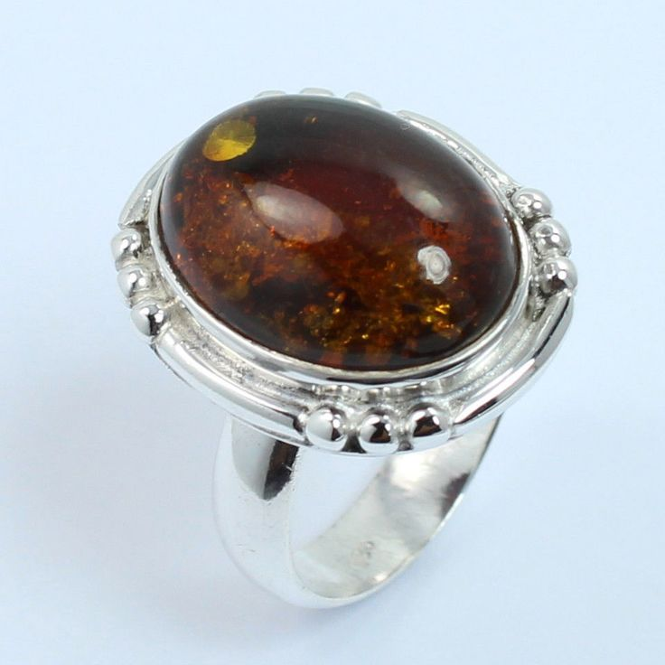 New Fashion Ring Size US 5.75 Real AMBER Gemstone 925 Sterling Silver Love Gift #Unbranded