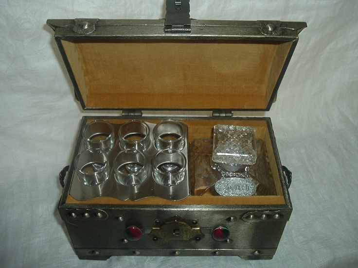 Vintage Decanter Chest with 6 Shot Glasses and  Decanter. $450.00, via Etsy.: Decanter Chest, Etsy, Shots Glasses, Vintage Wardrobe, Brass Chest, Shot Glasses, Antiques Decanter, Vintage Decanter