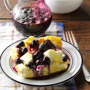 Blueberry French Toast Recipe -This is the best breakfast dish I've ever tasted. Luscious blueberries are tucked into the French toast and in the sauce that goes over the top. With the cream cheese and berry combination, this dish reminds me of dessert. The recipe was shared with me by a local blueberry grower.—Patricia Walls, Aurora, Minnesota