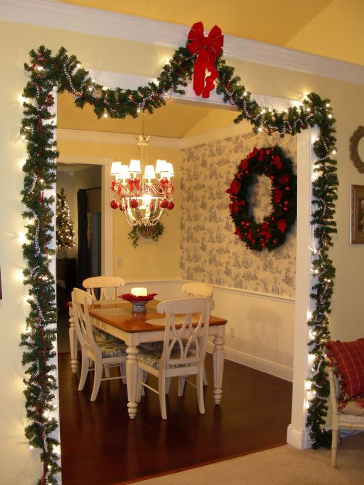 Christmas Kitchen & Dining, This is our kitchen and dining area with red Christmas decor! The large wreath is one of my treasured garage sale finds., , Kitchens Design
