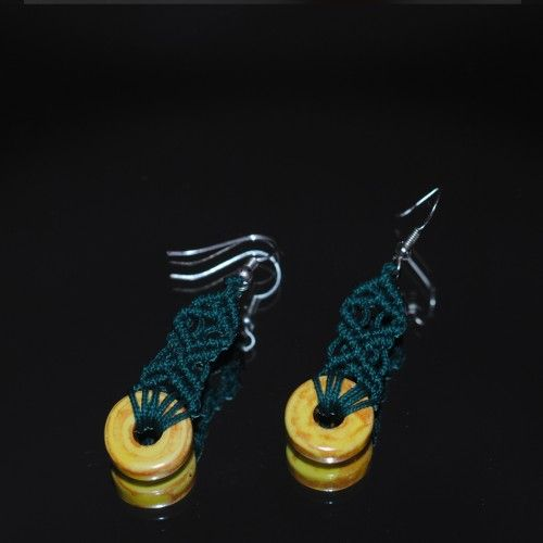 Handmade macrame Earrings, Green cord http://reignofknots.com/index.php?route=product/category&path=24