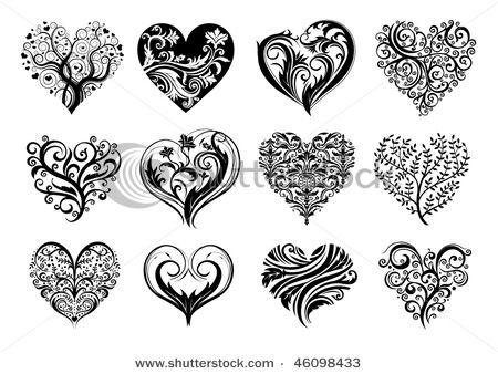 Small Heart Tattoo Designs | 12 Tattoo hearts - Stock Illustration