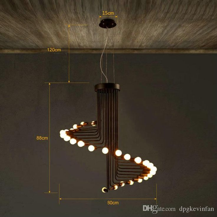 American Industrial Loft Spiral Staircase Chandelier Retro Minimalist Creative Personality Pendant Lamps For Living Room Cafe