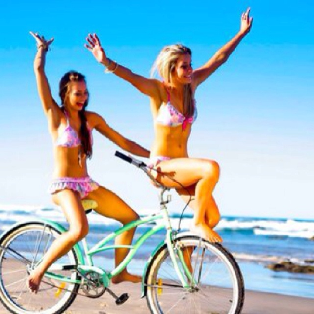 fun fun funPink Summer, Best Friends, Bestfriends, At The Beach, Bikes Riding, Summer Fun, Riding A Bikes, Summerfun, Beach Cruiser