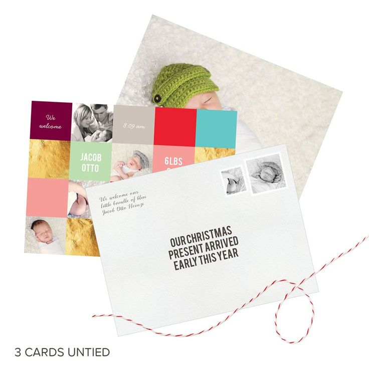 Precious Package Tied With Twine -- Christmas Birth Announcements