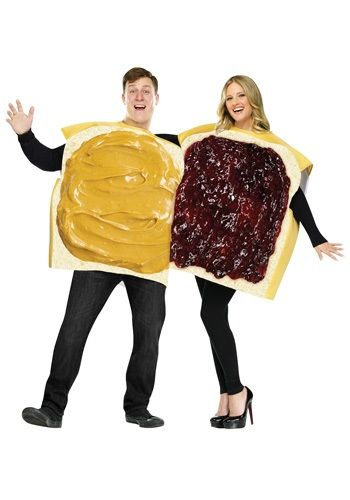 No one can argue that peanut butter and jelly go perfectly together! This Adult Peanut Butter and Jelly Costume is a cute and unique couples' costume.