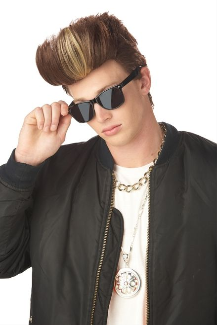 MC Poser Vanilla Ice, Justin Beiber Wig - Ice Ice Baby. This Wig makes a great throwback 80s and 90s wig. This wig is a short mens' wig. Mostly brunette, this wig features frosted tips in a front wave. This wig is just what you need for your retro 90s party or to complete your Justin Beiber Costume this Halloween. #80s #90s #vanillaice #beiber #wig #yyc #costume